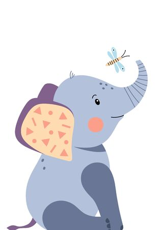 Cute elephant and dragonfly. Poster for baby room. Childish print for nursery. Design can be used for fashion t-shirt, greeting card, baby shower. Vector illustration. Vectores