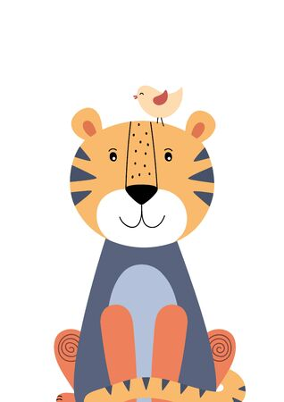 Cute tiger and little bird. Poster for baby room. Childish print for nursery. Design can be used for fashion t-shirt, greeting card, baby shower. Vector illustration.