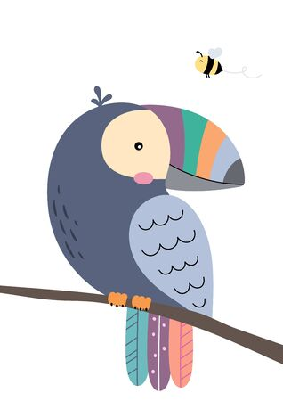 Cute toucan sitting on branch and flying bee. Poster for baby room. Childish print for nursery. Design can be used for fashion t-shirt, greeting card, baby shower. Vector illustration.