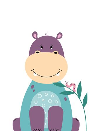 Cute hippo. Poster for baby room. Childish print for nursery. Design can be used for fashion t-shirt, greeting card, baby shower. Vector illustration.