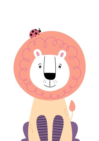 Cute lion with ladybug on the head. Poster for baby room. Childish print for nursery. Design can be used for fashion t-shirt, greeting card, baby shower. Vector illustration. Vectores