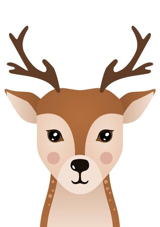 Cute deer. Woodland forest animal. Poster for baby room. Childish print for nursery. Design can be used for fashion t-shirt, greeting card, baby shower. Vector illustration. Vectores