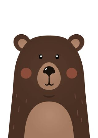 Cute bear. Woodland forest animal. Poster for baby room. Childish print for nursery. Design can be used for fashion t-shirt, greeting card, baby shower. Vector illustration.