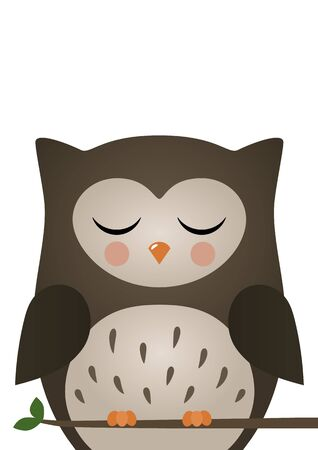 Cute owl. Woodland forest animal. Poster for baby room. Childish print for nursery. Design can be used for fashion t-shirt, greeting card, baby shower. Vector illustration. Illustration