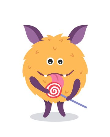 Cute monster mascot with lollipop. Poster for baby room. Childish print for nursery. Design can be used for fashion t-shirt, greeting card, baby shower. Halloween vector illustration.