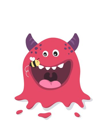 Cute monster mascot and bee. Poster for baby room. Childish print for nursery. Design can be used for fashion t-shirt, greeting card, baby shower. Halloween illustration. Banque d'images - 149594655