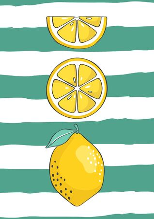 Fresh lemons background. Tropical fruit. Hand drawn backdrop. Design can be used for printing. Vector illustration.