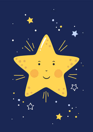 Little star with smiling face in the starry sky. Good night for kids. Poster for baby room. Childish print for nursery. Design can be used for greeting card, baby shower. Vector. Vectores