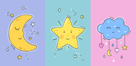 Set of posters yellow sleepy moon, smiling star and cute cloud for baby room decoration. Childish print for nursery. Design can be used for greeting card, baby shower. Vector.