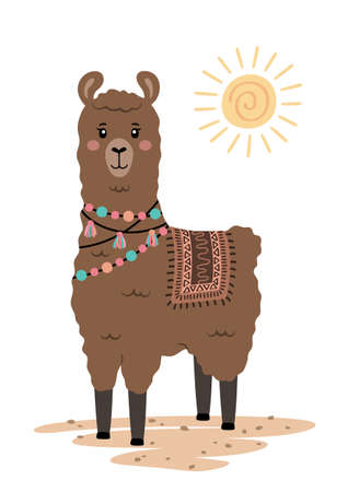 Cute llama with ethnic design elements. Poster for baby room. Childish print for nursery. Design can be used for fashion t-shirt, greeting card, baby shower. Vector. Vectores