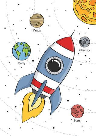 Space rocket flying in space with planets and stars. Educational design for kids. Poster for baby room. Childish print for nursery. Vector. Vectores
