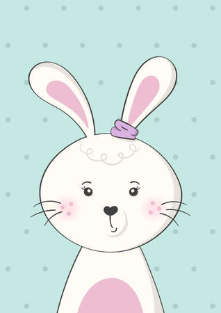 Cute rabbit or bunny. Poster for baby room. Childish print for nursery. Design can be used for kids apparel, greeting card, invitation, baby shower. Vector.