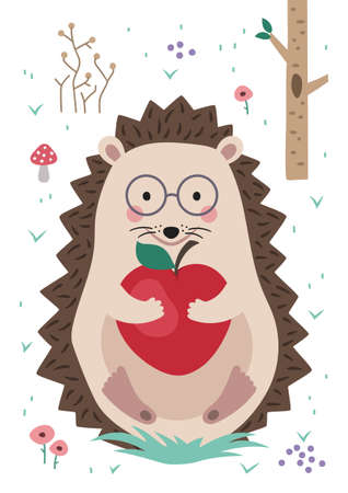 Hedgehog in forest holding apple in his hands. Poster for baby room. Childish print for nursery. Design can be used for fashion t-shirt, greeting card, baby shower...Vector.