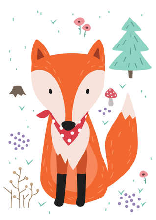 Cute fox. Woodland forest animal. Poster for baby room. Childish print for nursery. Design can be used for fashion t-shirt, greeting card, baby shower...Vector. Vectores