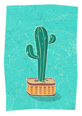 Cactus in hand drawn flower pot. Home wall decor in scandinavian style. Poster for living room. Vector. Vectores