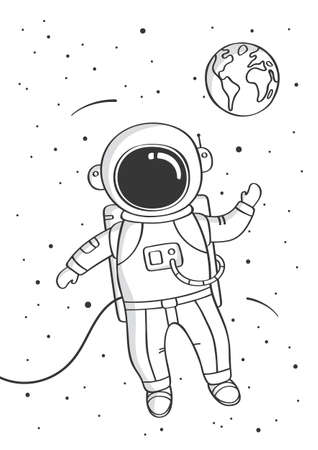 Astrounaut floating in space. Hand drawn sketch design illustration. Childish print for nursery.
