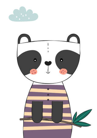 Cute Panda Bear holding eucalyptus branch. Poster for baby room. Childish print for nursery. Design can be used for kids apparel, greeting card, invitation, baby shower. Vector.