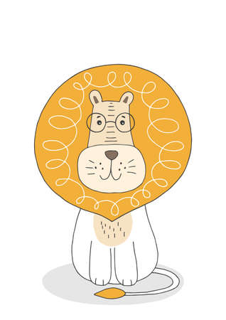 Hand drawn cute lion. Poster for baby room. Childish print for nursery. Design can be used for kids apparel, greeting card, invitation, baby shower. Vector.