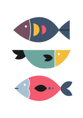 Abstract fish. Home wall decor in scandinavian style. Poster for living room. Vector.