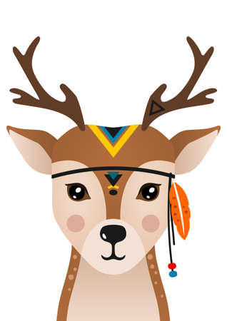 Cute deer have headdress with feathers on head. Woodland forest animal. Design can be used for kids apparel, greeting card, invitation, baby shower. Vector. Ilustracja
