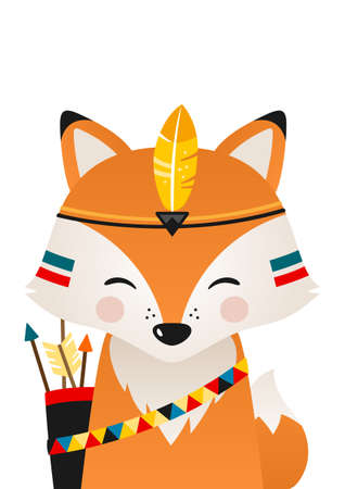 Cute fox have headdress with feathers on head. Woodland forest animal. Cartoon apache fox. Design can be used for kids apparel, greeting card, invitation, baby shower. Vector.