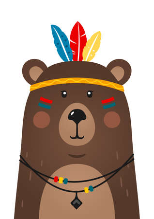Cute bear have headdress with feathers on head. Woodland forest animal. Cartoon apache bear. Design can be used for kids apparel, greeting card, invitation, baby shower. Vector.