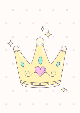 Girly princess royalty crown with heart jewels. Poster for baby room. Childish print for nursery. Design can be used for greeting card, invitation, baby shower. Vector.
