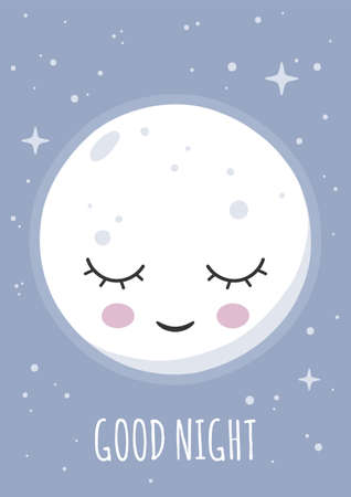 Sleeping smiling moon wishing good night. Poster for baby room. Childish print for nursery. Design can be used for greeting card, invitation, baby shower. Vector. Illustration