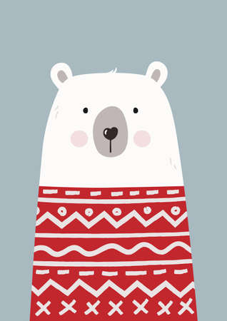 Cute hand drawn polar bear in red sweater. Poster for baby room. Childish print for nursery. Design can be used for greeting card, invitation, baby shower. Vector.