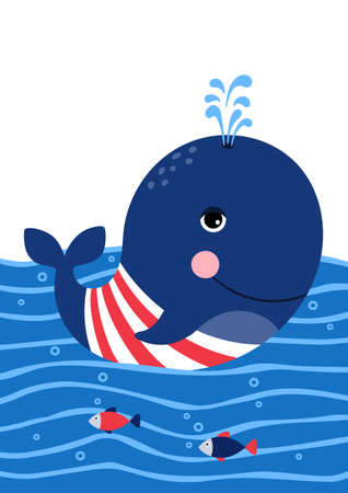 Cute whale in a sailor suit. Poster for baby room. Childish print for nursery. Design can be used for greeting card, invitation, baby shower. Vector. Vectores