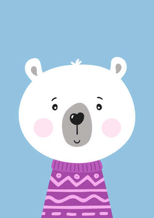 Cute hand drawn polar bear in purple sweater. Poster for baby room. Childish print for nursery. Design can be used for greeting card, invitation, baby shower. Vector.