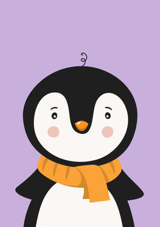 Cute penguin in scarf. Poster for baby room. Childish print for nursery. Design can be used for kids apparel, greeting card, invitation, baby shower. Vector.