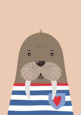 Cute walrus sailor. Poster for baby room. Childish print for nursery. Design can be used for kids apparel, greeting card, invitation, baby shower. Vector.