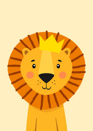 Cute lion with crown. Poster for baby room. Childish print for nursery. Design can be used for kids apparel, greeting card, invitation, baby shower. Vector.