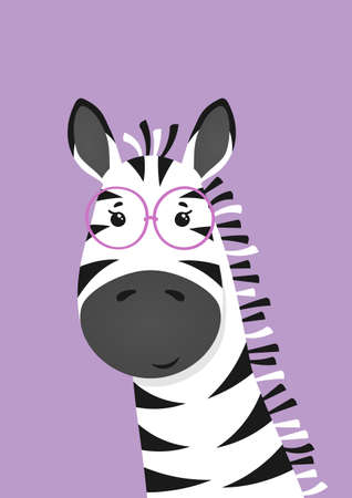 Cute zebra with glasses. Poster for baby room. Childish print for nursery. Design can be used for kids apparel, greeting card, invitation, baby shower. Vector.