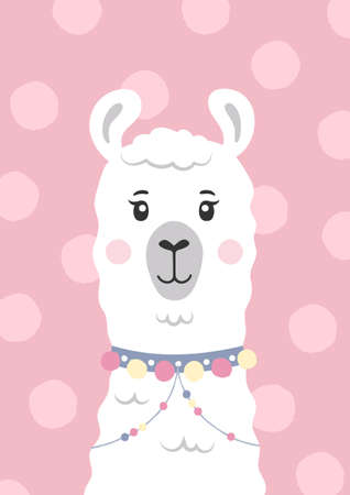 Cute lama, alpaca face. Cartoon character. Poster for baby room. Childish print for nursery. Design can be used for kids apparel, greeting card, invitation, baby shower. Vector. Vectores