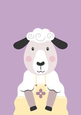 Cute sheep in yellow dress. Cartoon character. Poster for baby room. Childish print for nursery. Design can be used for kids apparel, greeting card, invitation, baby shower. Vector illustration.