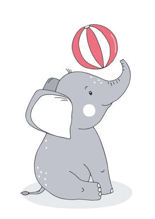 Cute baby elephant with balloon. Cartoon character. Poster for baby room. Childish print for nursery. Design can be used for kids apparel, greeting card, invitation, baby shower. Vector.