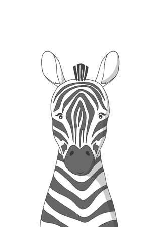 Hand drawn zebra. Poster for baby room. Childish print for nursery. Design can be used for kids apparel, greeting card, invitation, baby shower. Vector illustration.