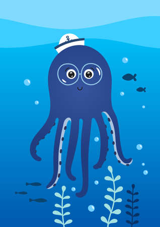 Cute little octopus with glasses. Poster for baby room. Childish print for nursery. Design can be used for greeting card, invitation, baby shower. Vector.