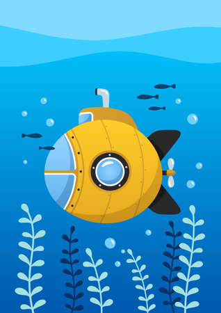 Yellow submarine undersea with fishes, underwater ship. Poster for baby room. Childish print for nursery. Design can be used for greeting card, invitation, baby shower. Vector.