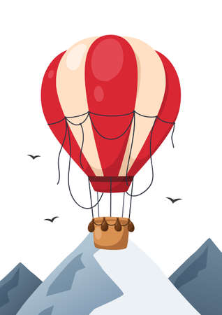 Hot air balloon in the sky with mountains on background. Poster for baby room. Childish print for nursery. Design can be used for greeting card, invitation, baby shower. Vector. Vectores