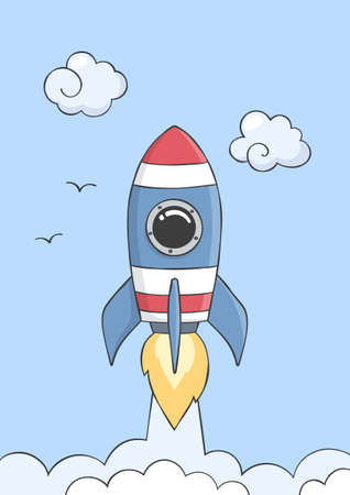 Space rocket flying in space with planets and stars. Poster for baby room. Childish print for nursery. Vector.
