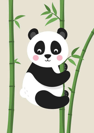 Cute Panda Bear on bamboo branch. Poster for baby room. Childish print for nursery. Design can be used for kids apparel, greeting card, invitation, baby shower. Vector.