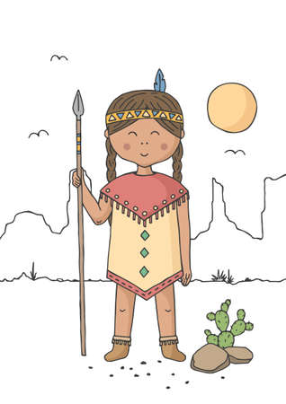 Little girl dressed as native american indian. Cartoon character. Poster for baby room. Childish print for nursery. Design can be used for kids apparel, greeting card, invitation, baby shower. Vector.