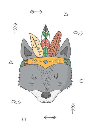Wolf in a headdress of indians. Cartoon character. Poster for baby room. Childish print for nursery. Design can be used for kids apparel, greeting card, invitation, baby shower. Vector. Vectores