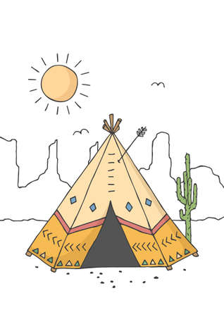 Teepee, tent or wigwam native american dwelling. Poster for baby room. Childish print for nursery. Design can be used for greeting card, invitation. Vector. Vectores