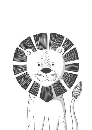 Hand drawn lion. Poster for baby room. Childish print for nursery. Design can be used for kids apparel, greeting card, invitation, baby shower. Vector illustration.