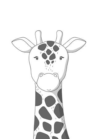 Hand drawn giraffe. Poster for baby room. Childish print for nursery. Design can be used for kids apparel, greeting card, invitation, baby shower. Vector.