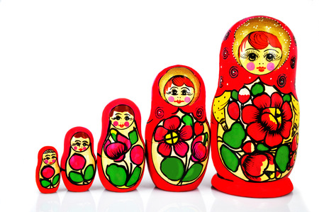matryoshka dolls isolated on white background photo
